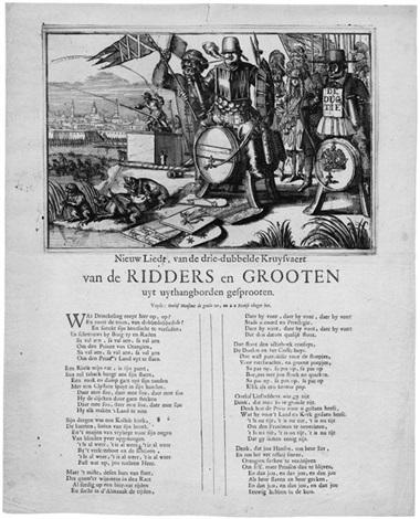 nieuw liedt van de drie dubbelde kruysvaert van de ridders en grooten uyt uythangborden gesprooten by romeyn de hooghe