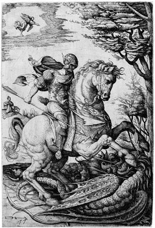 der hl georg im kampf mit dem drachen by daniel hopfer