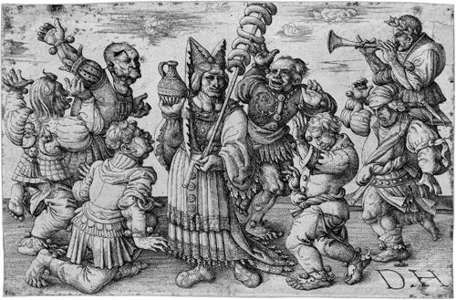 karneval sechs karnevaltänzer umgeben eine wurstverkäuferin by daniel hopfer