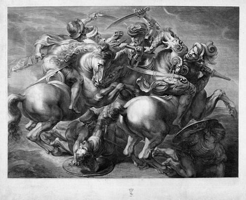 der kampf der vier reiter die schlacht von anghiari after leonardo da vinci by gérard edelinck