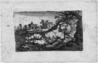 schlafender armor in einer landschaft by christoph metzger