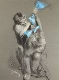 a monkey tying a blue ribbon in the hair of another monkey by etienne drian