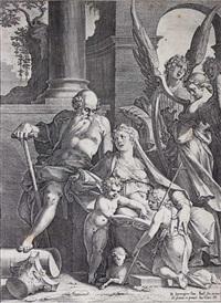 die heilige familie mit johannes dem täufer und 3 engeln nach rechts (after b. spranger) by jan sadeler i