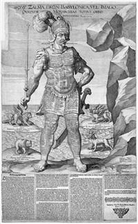 illustration zum buch daniel, kapitel 2, vers 31: nebukadnezars traum vom viergeteilten standbild mit tönernen füßen by wolfgang kilian