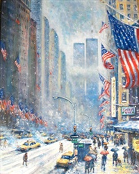 wake up usa, twin towers in winter, nyc by philip a. corley