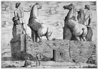 die dioskuren praxiteles und fidia am quirinal (equitum in quirinali, aversa parte, marmorei colossi romae; absolutissima praxitelis et fidiae) by antonio lafreri