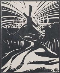 eveningwalk; an der kleinen bucht, 1974; winter in pennsylvania, 1970; oberursel - mittelalterliche stadt, 1979; windmühle, 1919 (5 works) by werner drewes