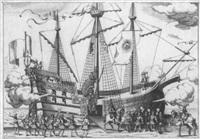 ankunft eines kriegsschiffs by giovanni battista coriolano