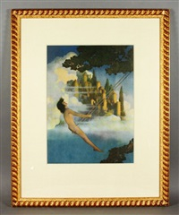 boy on a swing with castles in the background by maxfield parrish