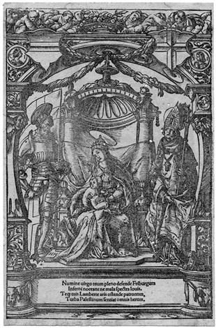 das stadtwappen freiburgs in breisgau maria mit dem kind und den stadtpatronen freiburgs den heiligen georg und lambert smaller verso by hans holbein the younger