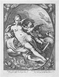 venus und cupido auf wolken by hendrik goltzius