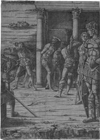 die geißelung christi mit der landschaft im hintergrund by andrea mantegna
