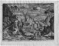 landschaft mit tobias und dem engel (+ 3 others; 4 works after gillis de saen) by hendrik hondius the elder