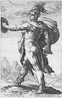 fünf römischen helden: publius horatius, mucius scaevola, titus manlius torquatus, marcus valerius corvus, calphurnius (5 works of 10) by hendrik goltzius
