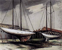 boats in dry dock, long island by abraham harriton