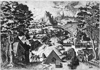 weite landschaft mit abraham und den engeln (by hieronymus cock) by lucas gassel