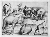 exotische tiere nach antiken wandmalereien (3 works) by antonio lafreri