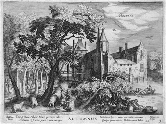 der herbst ansicht von schloß maersen from vier jahreszeiten after david vinckboons by hessel gerrits