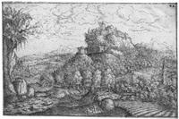 landschaft mit einer burg auf einem felsen by hans sebald lautensack