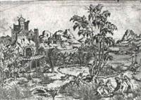 landschaft mit venus und drei grazien, von einem satyr überrascht by leonard thiry