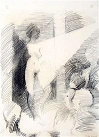 weiblicher akt auf einer bühne by georg eisler