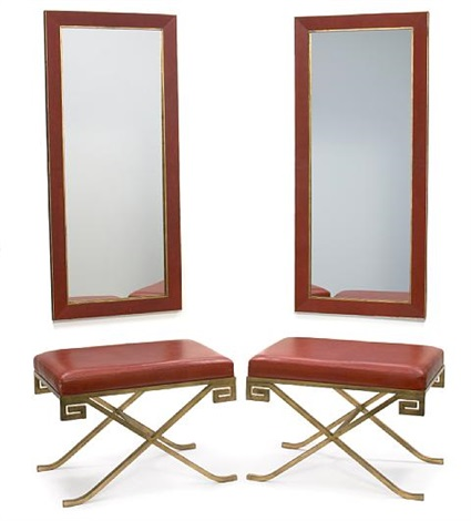 klismos benches pair and conforming pier mirrors set of 4 by garrison rousseau