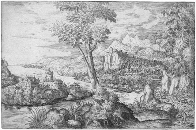 flußlandschaft mit drei figuren by hans sebald lautensack
