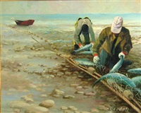 two fishermen with their catch by harvey goodale