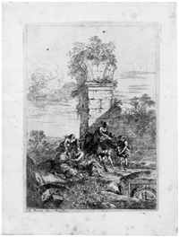 landschaft mit architekturcapriccio und staffagefiguren (from trois caprices de ruine à l'italienne) by jean le pautre