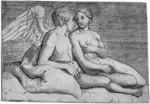 amor und psyche after raphael by giacomo francia