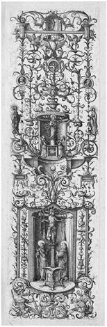 ornamentale leiste mit kreuzigung und der jungfrau mit dem kind by daniel hopfer
