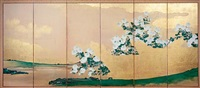 chrysanthemums and brushwood fences (in 6 parts) by japanese school-kano (19)