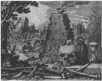 vanitasdarstellung mit einem schädel, einer sanduhr, einer verdörrten rose und anderen attributen by raphael custos