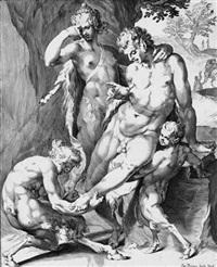 satyr, einem faun einen dorn aus dem fuß entfernend (after jan harmensz) by giacomo piccinini