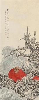 擬冬心先生笔意 立轴 设色纸本 by ren yu