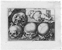vanitas-stillleben (mors omnia aequat - der tod macht alles gleich) (after barthel beham) by lukas kilian