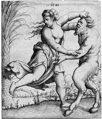 kampf zwischen einer nackten frau und einem satyr by augustin hirschvogel