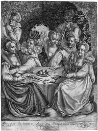 et venere et baccho bona decoquit omnia natus - die fröhliche gesellschaft by assuerus londerseel