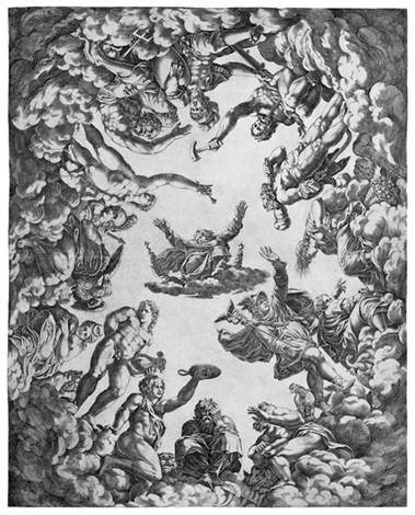 jupiter von den göttern umgeben after primaticcio by pierre milan