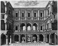 innenansicht des palazzo farnese mit den beiden herkulesstatuen by antonio lafreri