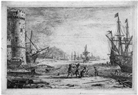 le port de mer à la grosse tour by claude lorrain