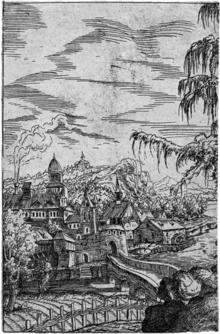 landschaft mit bauernkate und stadt am fluß linke hälfte der platte by hans sebald lautensack