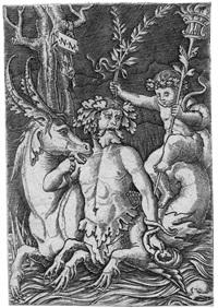 triton mit seepferd und fackelhaltendem putto by nicoletto da modena