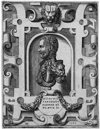octavius farnesius parmae - brustbild ottavios farneses im profil mit rollwerkkartuschen by nicoló nelli