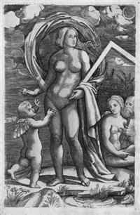 amor und venus, die ein winkelmaß hält (allegorie der geometrie ?) by giacomo francia