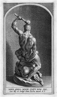 samson und die zwei philister (2 works after michelangelo) by lukas kilian