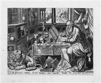 die vier kirchenväter: hieronymus, gregorius, ambrosius und augustus (4 works) by gerard de jode