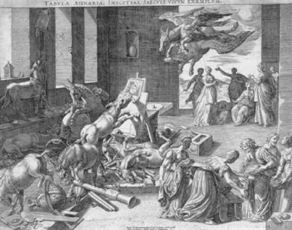 tabula asinaria eine eselshorde verwüstet die werkstatt eines gelehrten by isaak duchemin