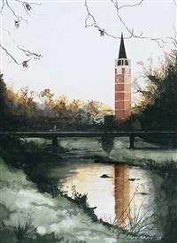 turm der stadtkirche aus rotem sandstein über die enz by franc maucic