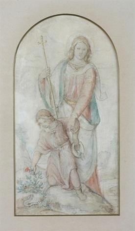 schutzengel mit kreuzstab in der hand bewahrt das kind vor dem pflücken einer blume unter der die schlange lauert pencil sketch verso by philipp veit